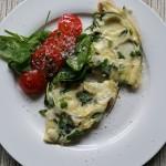 Breakfast joy: Frittata cu spanac şi patru feluri de brânză